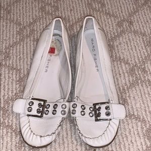 Marc fisher white flats with buckle